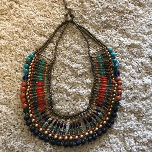 Gold and multicolored beaded collar